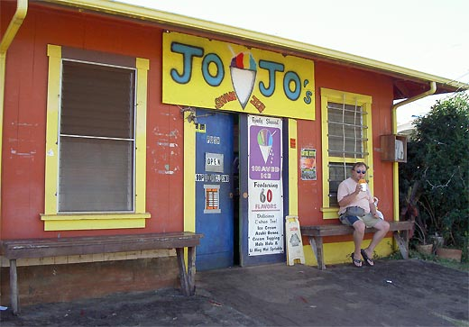 Eating flavored shaved ice (snow cone) at Jojo's in Waimea.