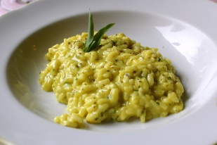 Saffron risotto with silene