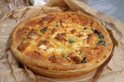 Spinach and chevre quiche