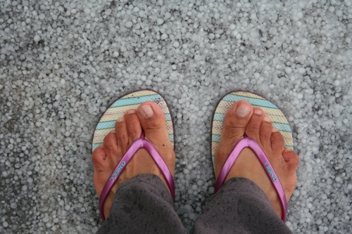 Hail underfoot