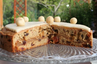 Inside peek of a Simnel cake